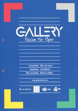 Gallery bloc de cours, quadrillé 5 mm, papier de 80 g/m²