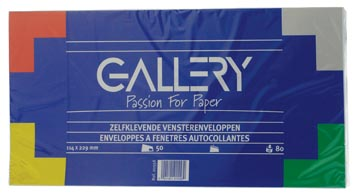Gallery enveloppes, ft 114 x 229 mm, avec fenêtre à droite et bande adhésive, paquet de 50 pièces