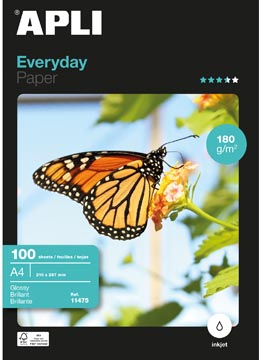Apli papier photo Everyday ft A4, 180 g, paquet de 100 feuilles