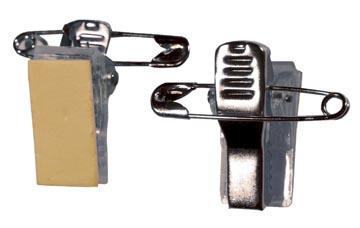 Badgy clip adhésif métal à pince crocodile avec épingle de sûreté, paquet de 100 pièces