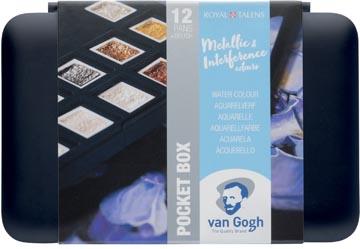 Talens Art Creation aquarelle, pocketbox 12 godets, couleurs métalliques et interférence