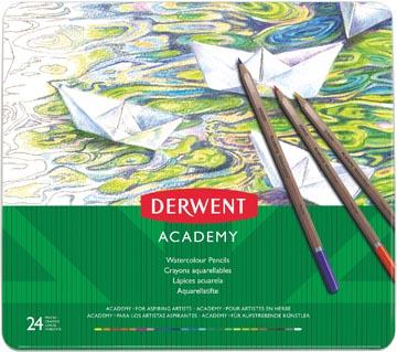 Derwent crayon aquarellable Academy , boîte métallique de 24 pièces en couleurs assorties