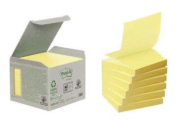 Post-it Z-Notes récyclé, ft 76 x 76 mm, jaune, paquet de 6 blocs