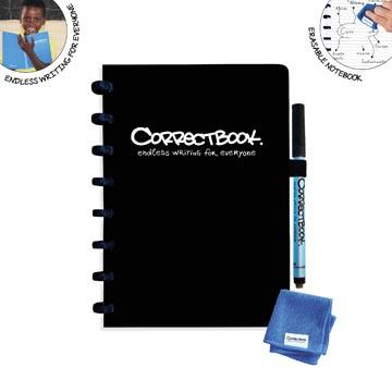 Correctbook Original, A5, cahier effaçable / réutilisable, ligné, noir