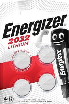Energizer piles bouton lithium, CR2032, blister 4 pièces