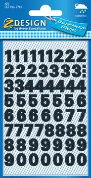 Avery Etiquettes chiffres et lettres 0-9, 2 feuilles, noir, film résistant aux intempéries