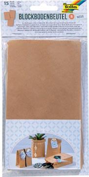 Folia sac en papier, 100 x 55 x 175 mm, paquet de 15 pièces, kraft