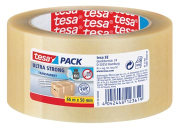 Tesa ruban adhésif d'emballage Ultra Strong, ft 50 mm x 66 m, PVC, transparent
