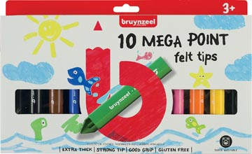 Bruynzeel Kids feutres Mega Point, blister de 10 couleurs assorties