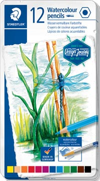 Staedtler crayon aquarelle, boîte métallique avec 12 crayons