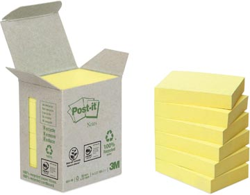 Post-it Notes récyclé, ft 38 x 51 mm, 100 feuilles, tour de 6 blocs, jaune