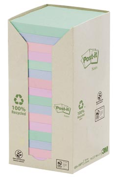 Post-it Notes récyclé, ft 76 x 76 mm, couleurs assorties, 100 feuilles, pacquet de 16 blocs