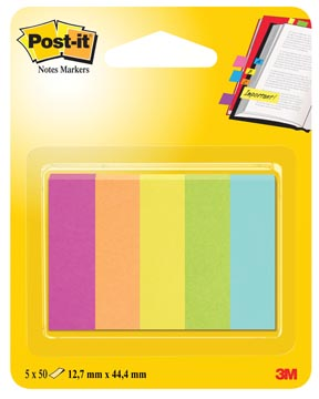Post-it Notes Markers Capetown, ft 12,7 x 44,4 mm, blister avec 5 blocs de 50 feuilles