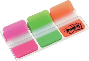 Post-it Index Strong, ft 25,4 x 38 mm, set de 3 couleurs (rose, vert et orange), 22 cavaliers par couleur