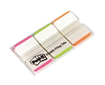 Post-it Index Strong, ft 25,4 x 38 mm, blanc avec bord coloré, 3 couleurs, 22 cavaliers par couleur