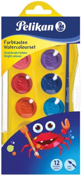 Pelikan boîte de peinture Junior, boîte de 12 godets en couleurs assorties + pinceau