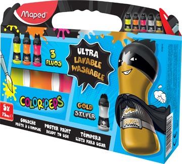 Maped Color'Peps gouache fluo/métallisé, boîte distributrice de 5 flacons de 75 ml en couleurs assorties