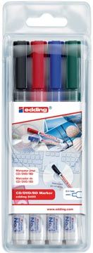 Edding marqueur permanent CD/DVD,BD 8400, blister de 4 pièces en couleurs assorties