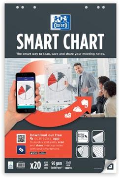 Oxford Smart Chart bloc de conférence, ft 65 x 98 cm, paquet de 20 feuilles, quadrillé