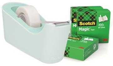 Scotch dérouleur de ruban adhésif, +4 rouleaux Scotch Magic tape, menthe