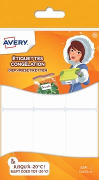 Avery Family étiquettes congélation, ft 6,5 x 3,3 cm, blanc, sachet brochable avec 24 étiquettes