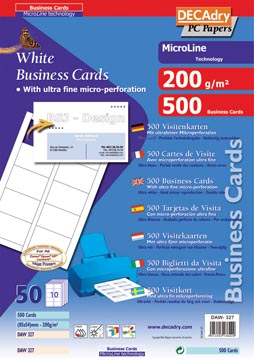 Decadry cartes de visite MicroLine ft 85 x 54 mm, 200 g/m², 500 cartes