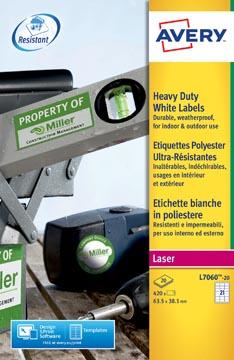 Avery Etiquettes blanches ultra-résistantes ft 63,5 x 38,1 mm (l x h), 420 pièces, 21 par feuille